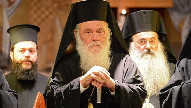Блаженнейший Архиепископ Афинский и всея Эллады Иероним во время молебна