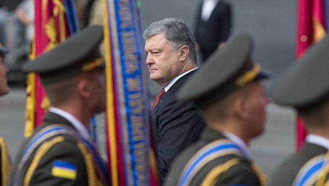 Президент Украины Петр Порошенко во время парада в честь Дня независимости в Киеве. 24 августа 2017