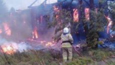 Пожар в поселке Зебляки Шарьинского района Костромской области. 7 сентября 2017
