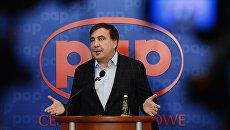 Лидер Движения новых сил, бывший глава Одесской области Михаил Саакашвили на пресс-конференции в Варшаве. 8 сентября 2017