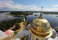Вид на Нило-Столобенскую пустынь и озеро Селигер с колокольни Богоявленского собора монастыря