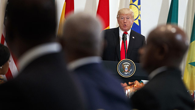 Дональд Трамп выступает перед главами государств Африканского континента на полях Генеральной Ассамблеи ООН в Нью-Йорке. 20 сентября 2017