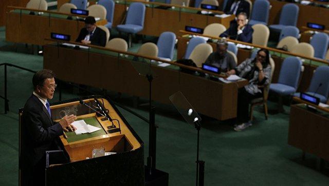 Президент Южной Кореи Мун Джэин на 72-й Генеральной Ассамблее ОНН в Нью-Йорке. 21 сентября 2017