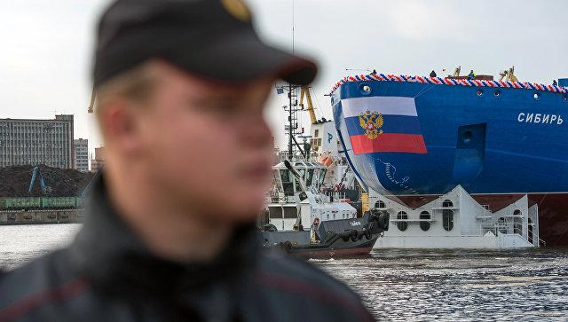 Спуск на воду атомного ледокола Сибирь в Санкт-Петербурге. 22 сентября 2017