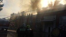 Пожар на складе с бытовой химией на территории мебельной фабрики в подмосковном Чехове. 25 сентября 2017