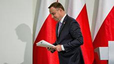 Президент Польши Анджей Дуда в Президентском дворце в Варшаве, Польша. 25 сентября 2017 года