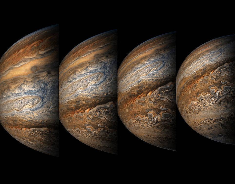 Юпитер снятый космическим аппаратом Юнона