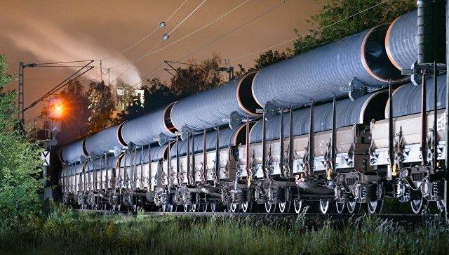 Транспортировка труб для строительства  газопровода Северный поток - 2