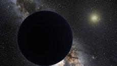 Так художник представил себе загадочную планету икс на фоне Солнца и Нептуна (справа)