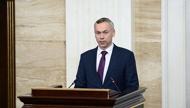 Временно исполняющий обязанности губернатора Новосибирской области Андрей Травников во время церемонии представления правительству. 9 октября 2017