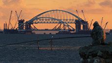 Установка автодорожной арки в процессе строительства Крымского моста в Керченском проливе