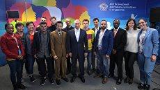 Владимир Путин на встрече с участниками XIX Всемирного фестиваля молодежи и студентов в Ледовом дворце Большой. 17 октября 2017