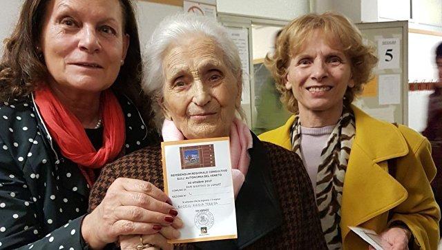 Стооднолетняя старушка приняла участие в референдуме об автономии Венето
