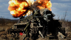 Стрельбы самоходных артиллерийских установок 2С5 Гиацинт во межвидовых тактических учений 5-й общевойсковой армии ВВО