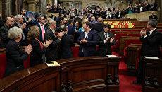 Парламент Каталонии после голосования за независимость от Испании. 27 октября 2017