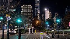 Место наезда грузовика на людей в Нью-Йорке. 31 октября 2017