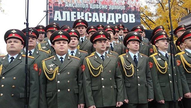 Во время открытия парка имени ансамбля Александрова в центре Белграда. 10 ноября 2017