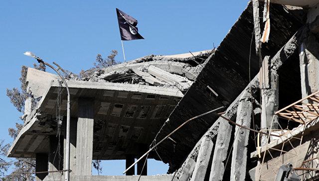 Флаг ИГ (террористическая организация, запрещена в РФ) на разрушенном доме в Ракке, Сирия. 18 октября 2017