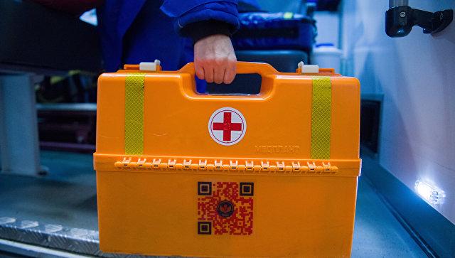 Аптечка на подстанции скорой и неотложной медицинской помощи. архивное фото