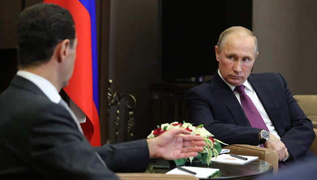 Президент РФ Владимир Путин и президент Сирии Башар Асад во время встречи. Архив