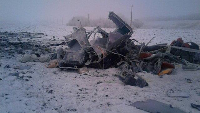 Место жесткой посадки вертолета в Тамбовской области. 28 ноября 2017