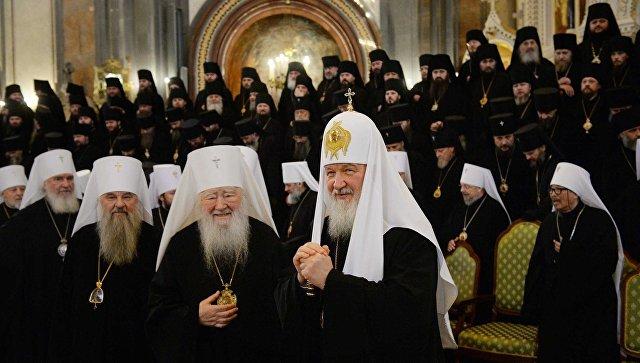 Патриарх Кирилл на открытии Архиерейского собора в Москве. Архивное фото
