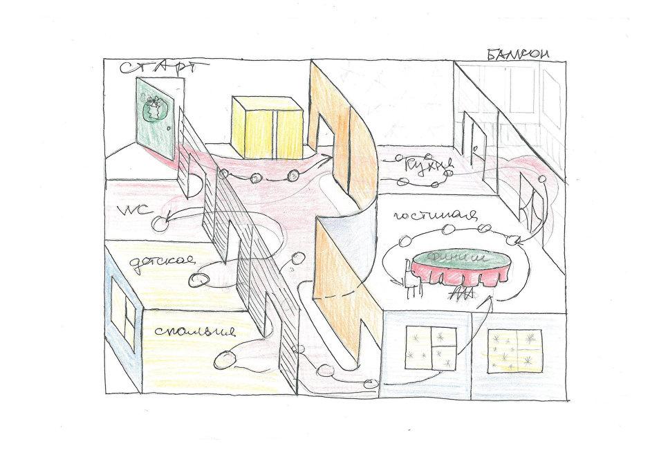 Игровое поле с реалистичной планировкой квартиры и 3D эффектом