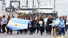Семьи экипажа подлодки Сан-Хуан на марше в городе Мар-дель-Плат, Аргентина. 3 декабря 2017
