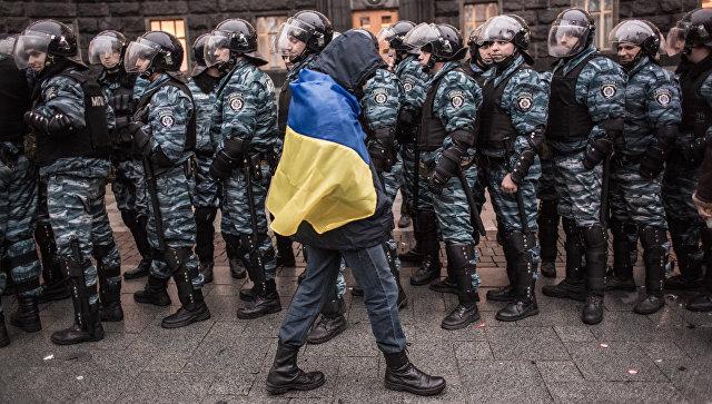Митингующий у здания правительства Украины в Киеве. Архивное фото