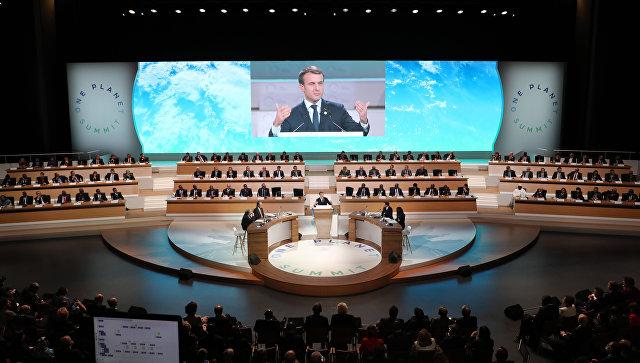 Президент Франции Эммануэль Макрон на открытии международной конференции по климату One Planet Summit