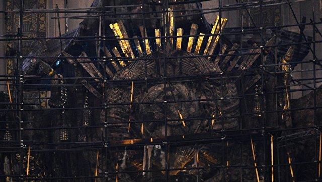 Здание павильона №1 Центральный на ВДНХ, пострадавшее в результате пожара