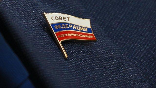 Значок члена Совета Федерации РФ. Архивное фото
