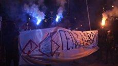 Украинские радикалы  жгли файеры на акции у Киево-Печерской лавры