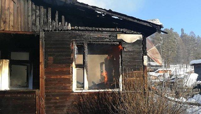Пожар в поселке Большой Луг Шелеховского района Иркутской области. 10 января 2018