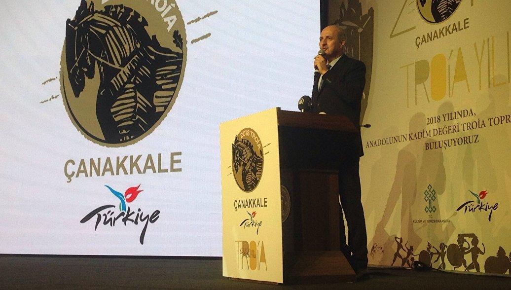 Министр культуры и туризма Турции Нуман Куртулмуш на цермонии открытия Года Трои. Архивное фото