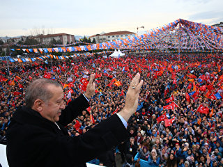 Президент Турции Тайип Эрдоган во время митинга в Бурсе, Турция. 21 января 2018