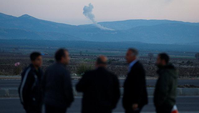 Дым над Африном, Сирия. 20 января 2018