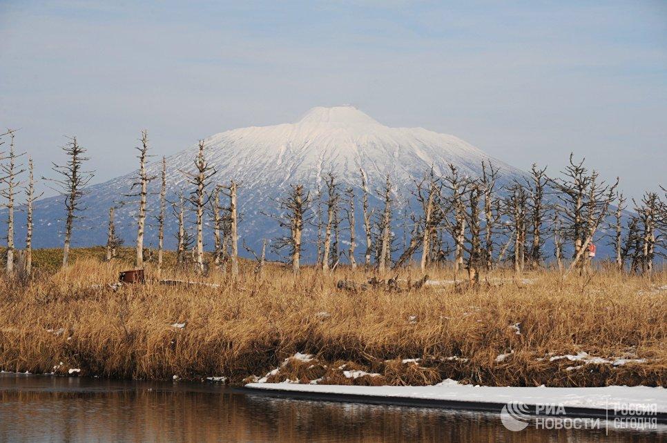 Действующий вулкан Тятя на острове Кунашир