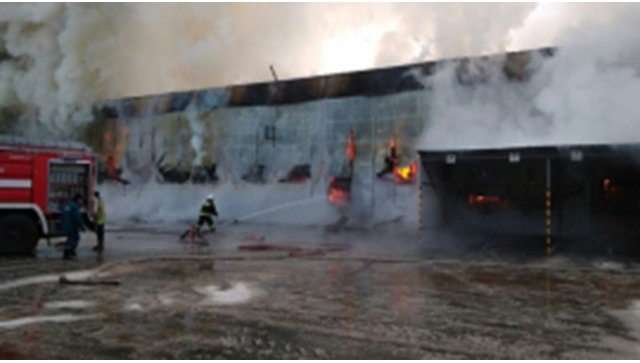 Пожар склада пластика в Ногинском  районе. 24 января 2018