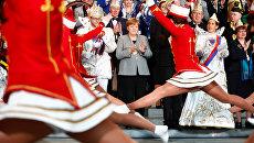 Канцлер Германии Ангела Меркель во время приема делегации карнавальных обществ в Берлине