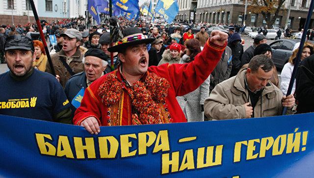 Во время марша националистов в честь годовщины Украинской повстанческой армии (УПА) в Киеве. Архивное фото