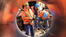 Сварка труб на строительстве газопровода в Германии. Архивное фото