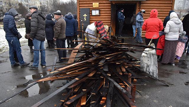 ВоЛьвове неизвестные подожгли церковь