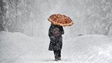 Женщина с зонтом во время снегопада в музее-заповеднике Коломенское. 4 февраля 2018