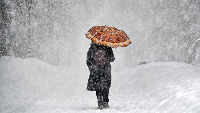 Женщина с зонтом во время снегопада