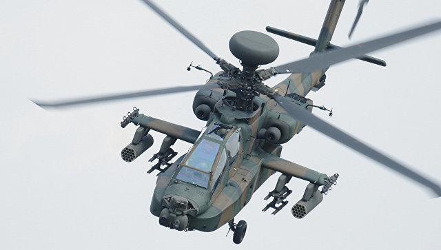 Военный вертолет рухнул и зажегся рядом сошколой вЯпонии
