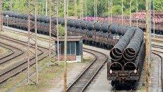 Ежедневная доставка труб из Мюльхайма в Мукран для газопровода Северный поток ‑ 2. Архивное фото