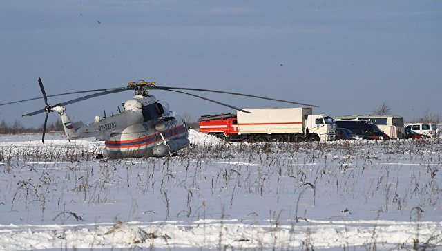 Вертолет МЧС России в Раменском районе Московской области, где потерпел крушение самолет Ан-148 Саратовских авиалиний рейса 703 Москва-Орск. 12 февраля 2018 года