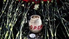 Цветы в память о жертвах крушения Ан-148 в Оренбурге