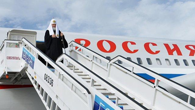 Патриарх Московский и всея Руси Кирилл выходит из самолета в аэропорту города Гаваны